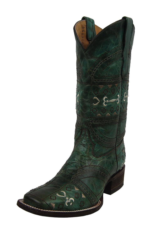 b0247da351a Amazon.com | CORRAL Youth Green Embroidery Square Toe Cowboy Boots ...