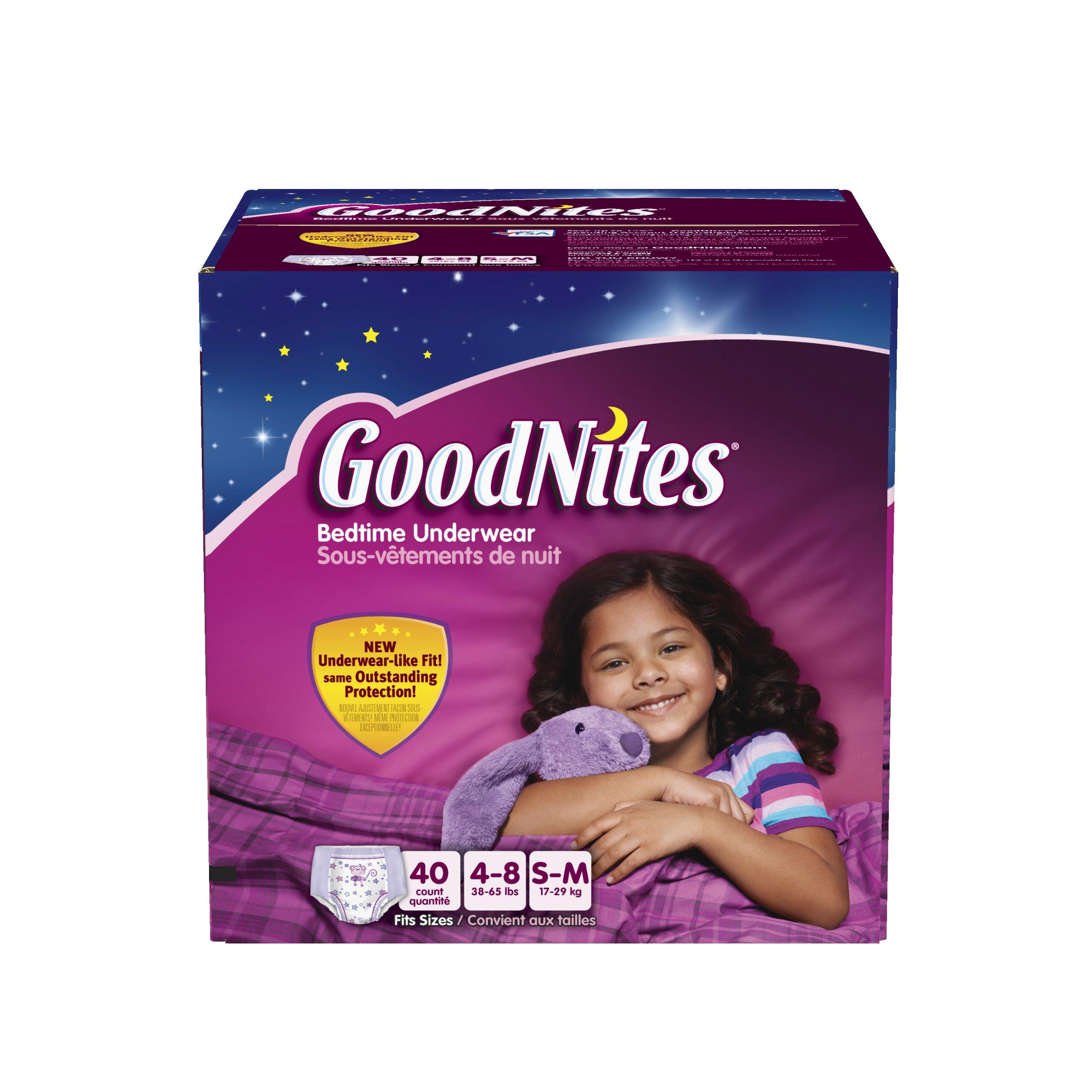 GoodNites Bedtime Pants for Girls, Small/Medium, 40 count