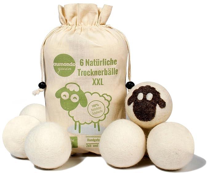 aumondo Trocknerbälle für Wäschetrockner - 6 XXL ExtragroÃe Filzbälle aus Schafwolle, der natürliche Weichspüler. Ideal für Daunenjacken. Dryer Balls Trocknerkugeln für Daunen.