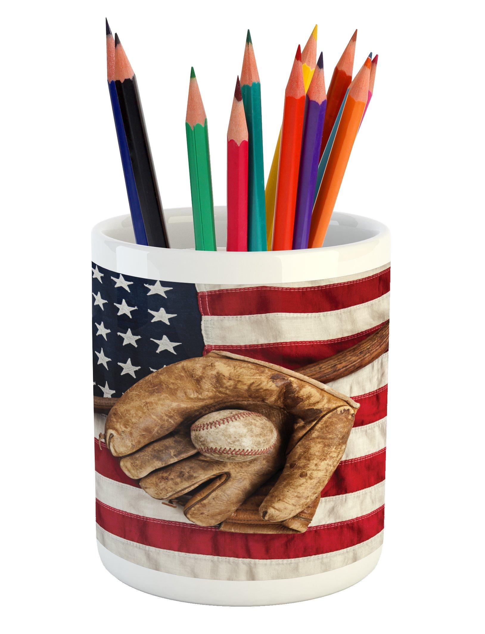 Ambesonne Baseball Pencil Pen Holder, Vintage Baseball League Equipment USA Grunge Glove Bat Fielding Sports Theme, Printed Ceramic Pencil Pen Holder for Desk Office Accessory, Brown Red Blue