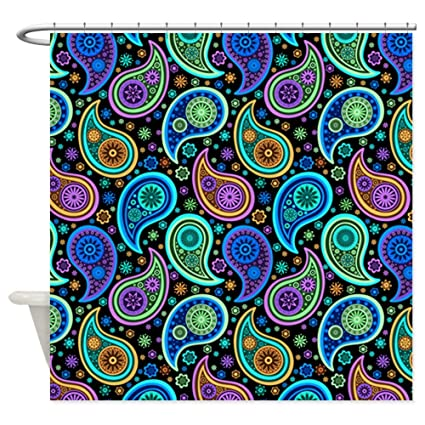 Image Unavailable Not Available For Color CafePress Blue Green Purple Paisley Shower Curtain