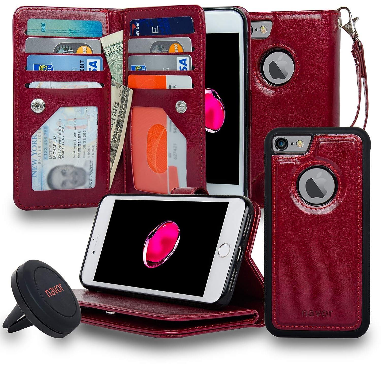 Navor iPhone 7 Case Magnetic Detachable Wallet Case [RFID Protection] [8 Card Pockets] [3 Money Pockets] JOOT-3L Series - Black (IP73LBK)