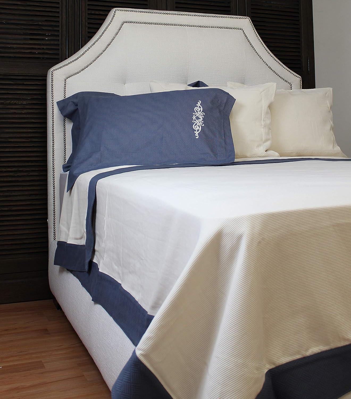 CGG Home Fashions Papiro Matalasse Coverlet, King, Beige/Blue