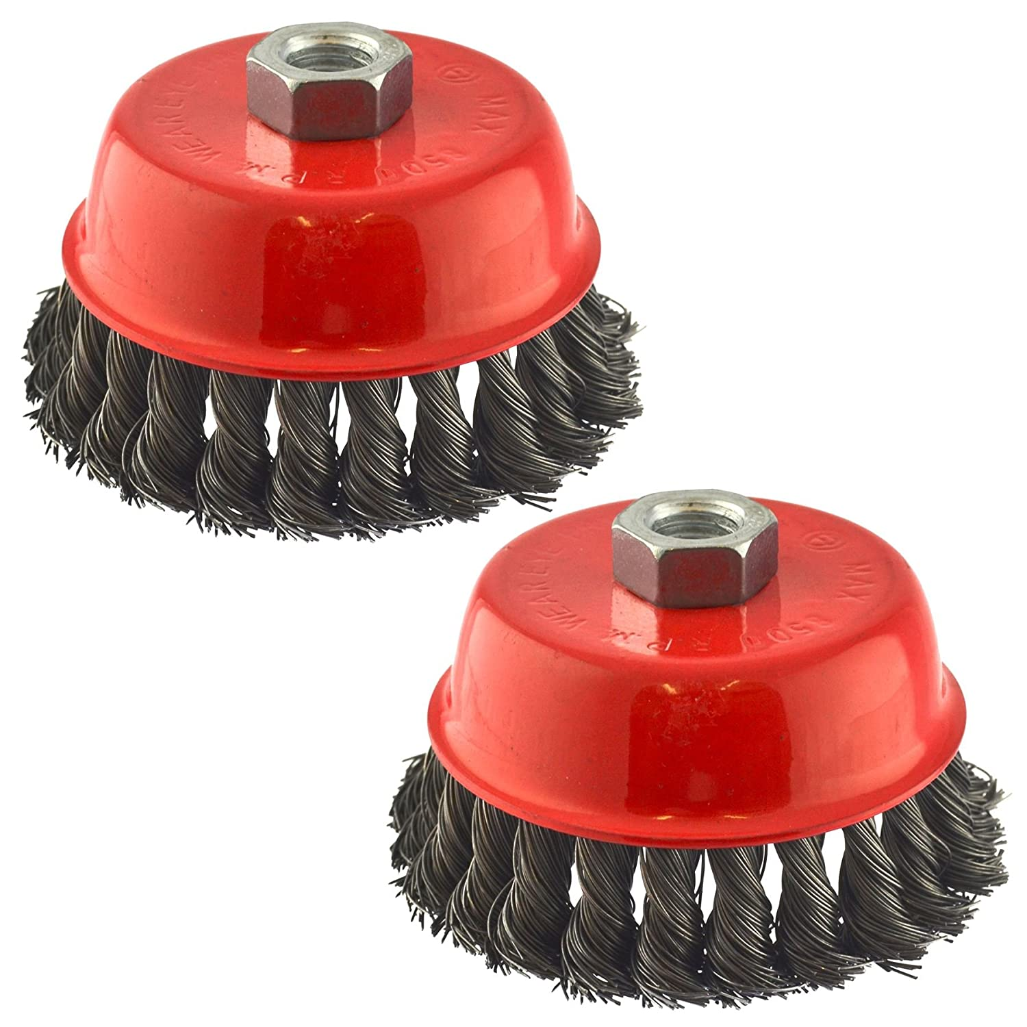Wire Cup Brush Wheel 100mm for 7' or 9' Angle Grinder Twist Knot 2Pk AT236 AB Tools