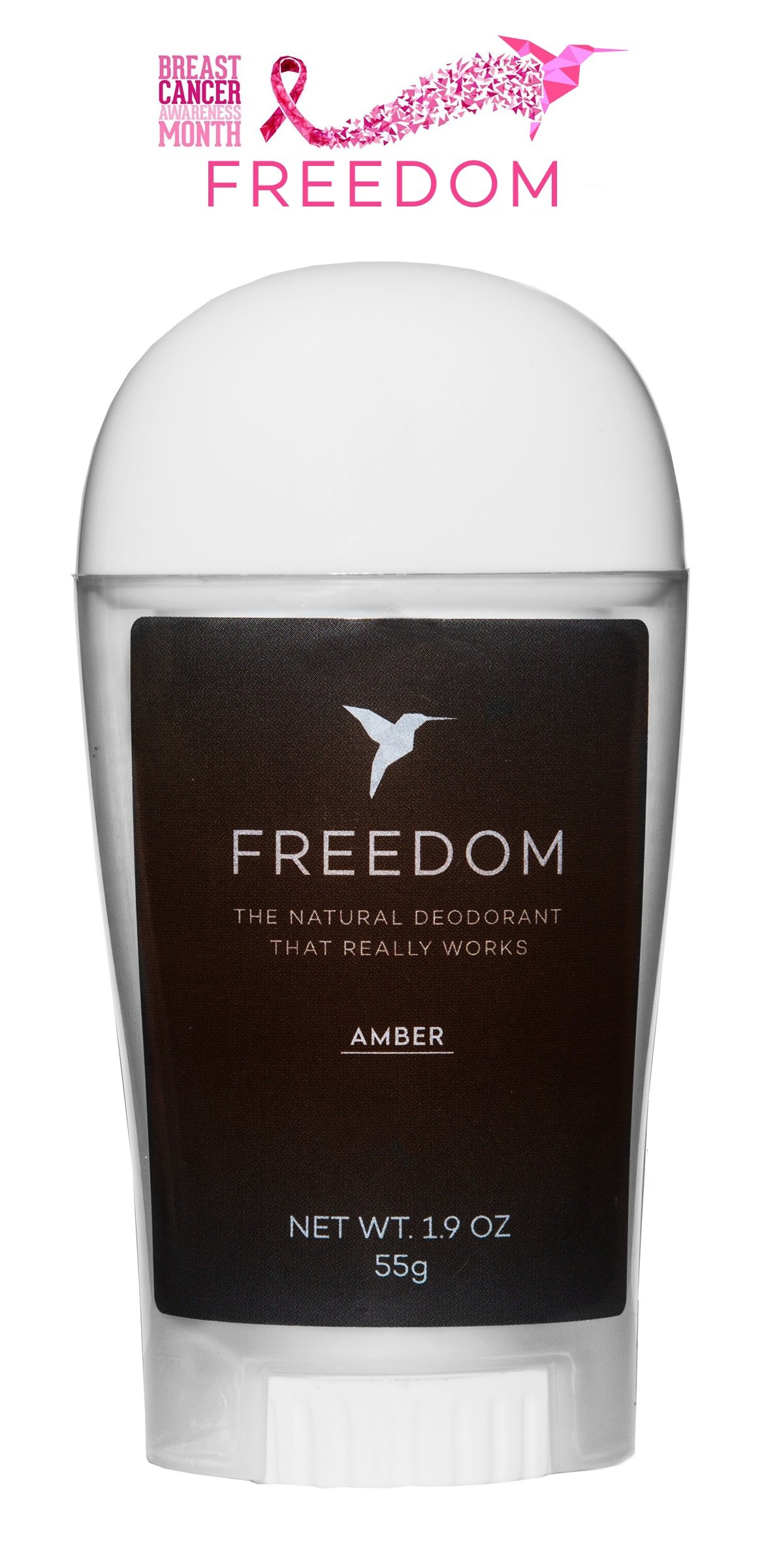 Freedom All Natural Deodorant Aluminum Free Odor Protection Tested & Loved by Cancer Survivors, Busy Execs, Military Personnel, Athletes, Healthy Moms & Kids - Amber 1.9oz