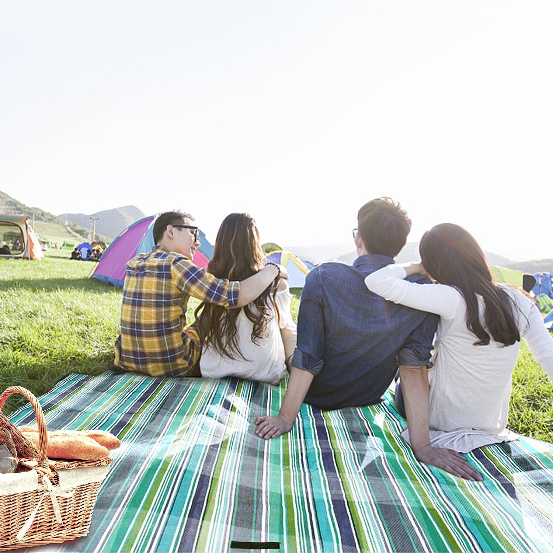 Vakoo Manta de Picnic 200x200cm Impermeable Alfombra de Playa Grande Port/átil Plegable Ideal para Outdoor Camping Familia al Aire Libre Parque o Jard/ín
