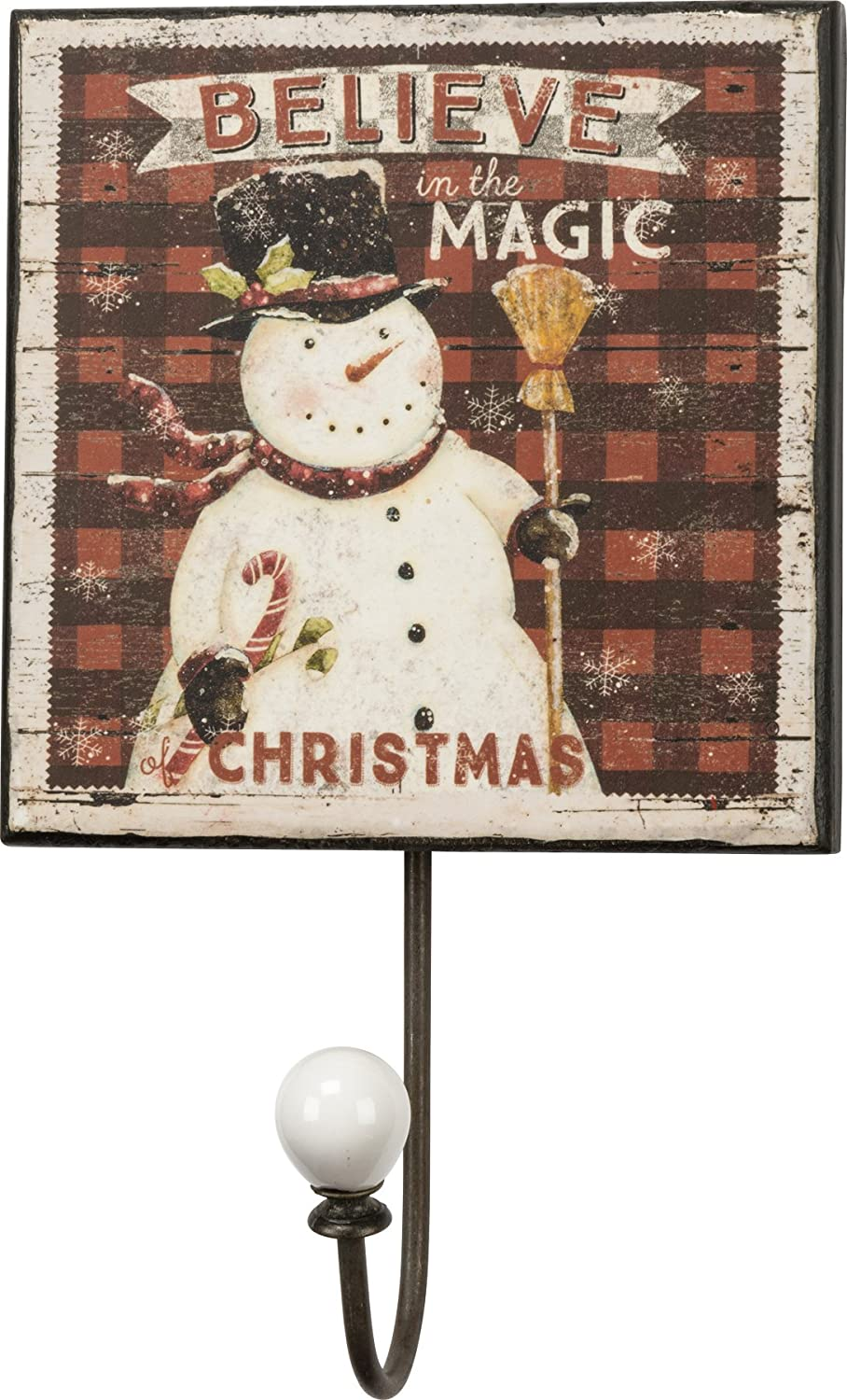 Primitives by Kathy Tin Wall Hook, Merry & Christmas, 5-inch by 5-inch 32869