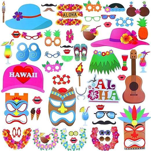 Weddecor Accesorios para Cabina de Fotos Hawaiano 46 Piezas ...