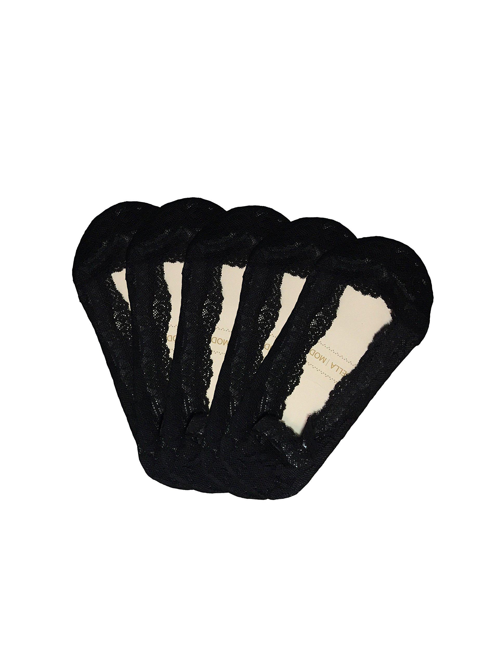 Bella Moda Women's Lace Casual No Show Non-skid Boat Socks Set of 5 (Black)
