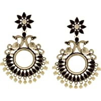 Ethnadore Bohemian Vintage Antique Crystal Faux Pearl Indian Oxidized Silver Chandelier Dangle Earrings Set Jewelry