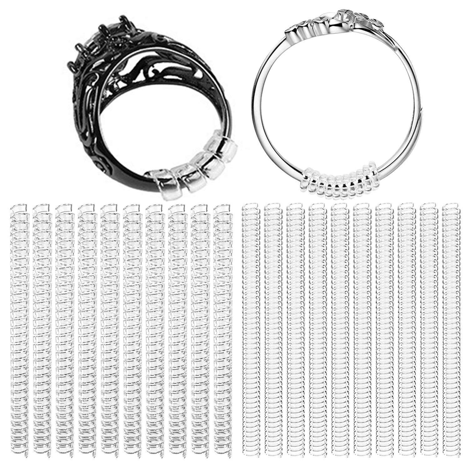 Set of 20(2mm/3mm) Size Adjuster Ring Spacer Ring Stopper Ring Size Adjuster with Jewelry Polishing Cloth-Plastic Ring Guard Ring Adjuster Perfect for Loose Rings YHmall