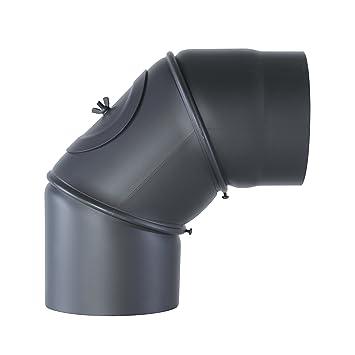 Kamino - Flam - Codo con puerta para chimenea de leña, Codo para estufa de leña, Codo vitrificado, Codo de escape, Gris oscuro, 150 mm/ángulo ajustable ...
