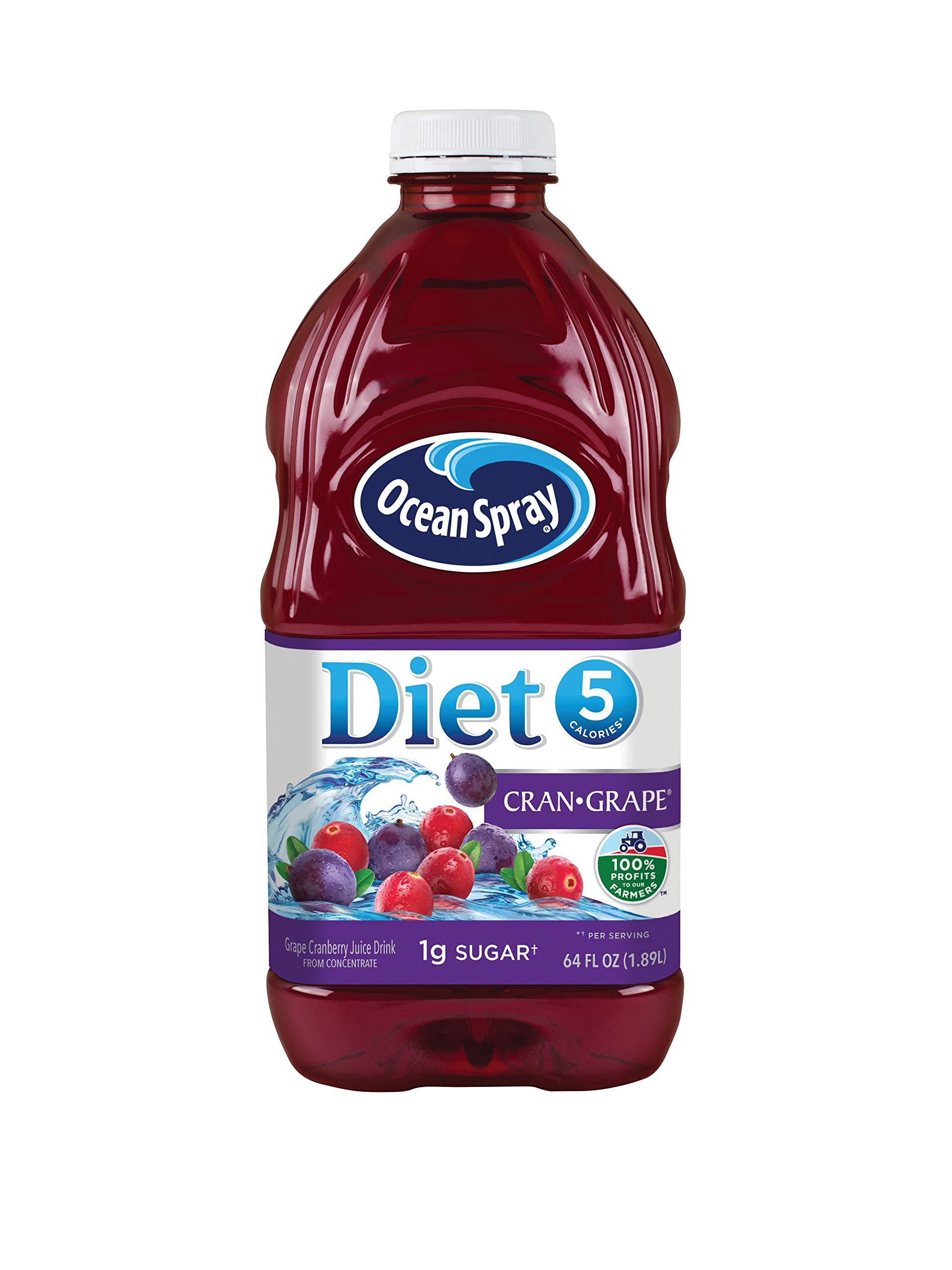 Ocean Spray Diet Cran-Grape Cranberry Grape Juice Drink, 64 Ounce Bottles (Pack of 8)