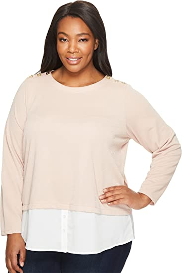 81e2212d07c Calvin Klein Plus Women s Plus Size Textured Twofer Top With Buttons Blush  Shirt