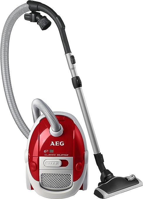 AEG Acsparkett Aspirador con bolsa silencioso y compacto y cepillo Parketto, color rojo, 1400 W, 3 litros, 80 Decibelios: Amazon.es: Hogar