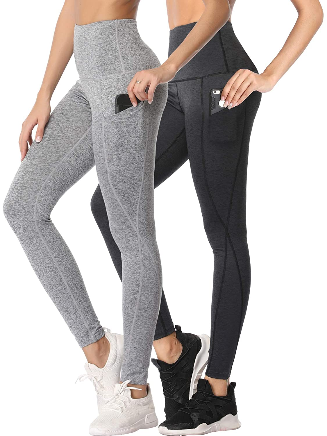 ★大人気商品★ Cadmus PANTS レディース B07JHHJ9PN Yoga Pants:02 Cadmus # Dark Pale Grey Gray,2 and Pale Gray,2 Pairs X-Large(Fit Waist:36