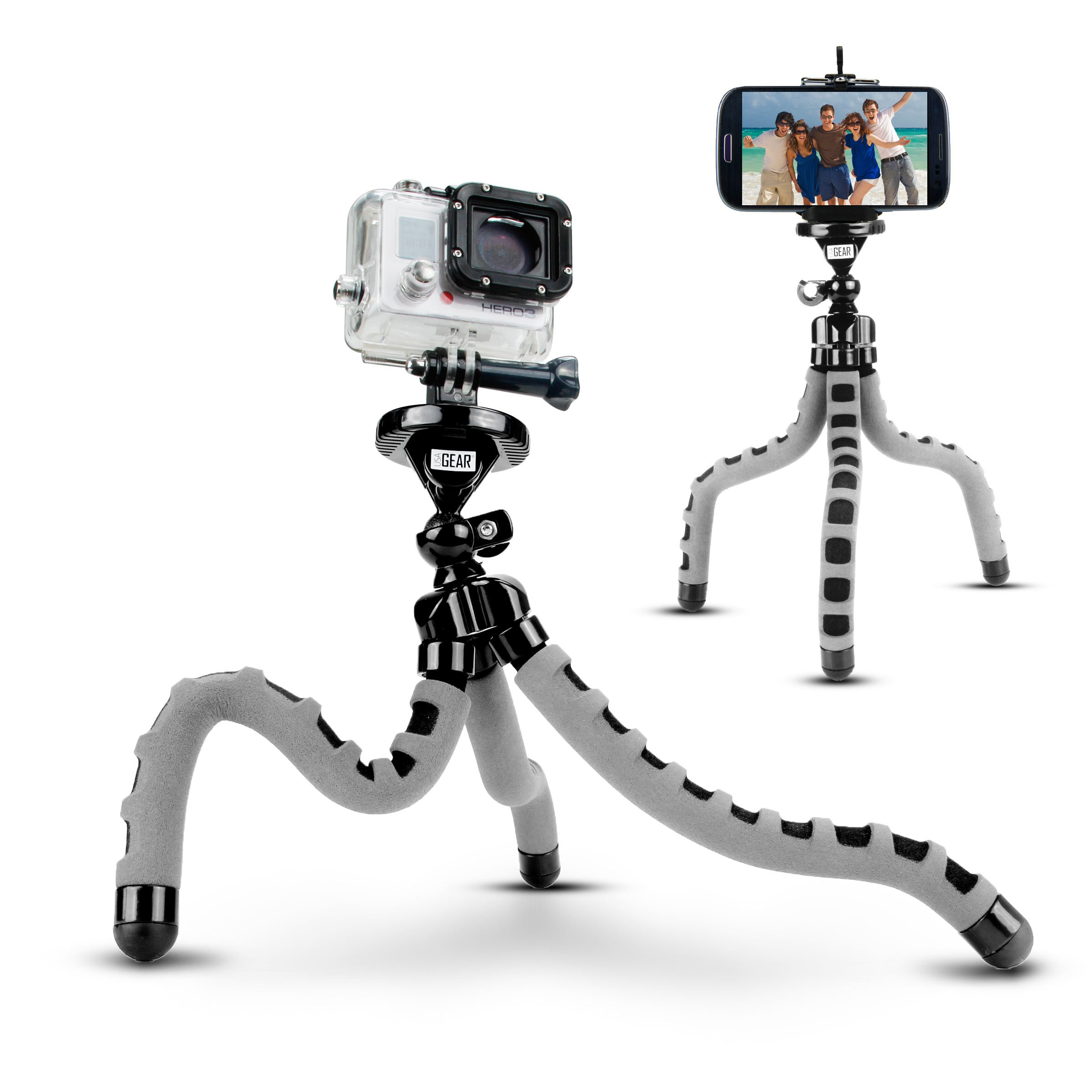 Action Cam Flexible Tripod Mount Stand with Bendable Wrapping Legs by USA Gear - Works with Garmin VIRB Ultra 30, Vivitar, REMALI 4K Ultra HD Sports Action Camera & More