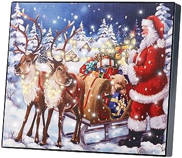 Weihnachtsbilder Motorrad.Infactory Led Weihnachtsbilder Led Bild Weihnachtsmann Mit