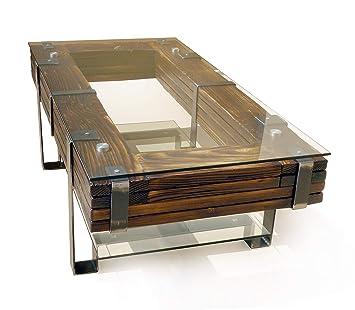 CHYRKA® Wohnzimmertisch Couchtisch Massivholz Metall Glastisch Holz Glas  LEMBERG DROHOBYCZ Loft Handmade (Lemberg, 90x60 cm H=50 cm)