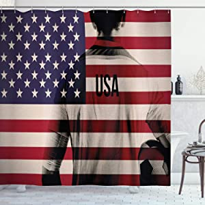 """Ambesonne Soccer Shower Curtain, Composite Double Exposure Image of a Soccer Player and American Flag USA Run, Cloth Fabric Bathroom Decor Set with Hooks, 70"""" Long, Blue Red"""