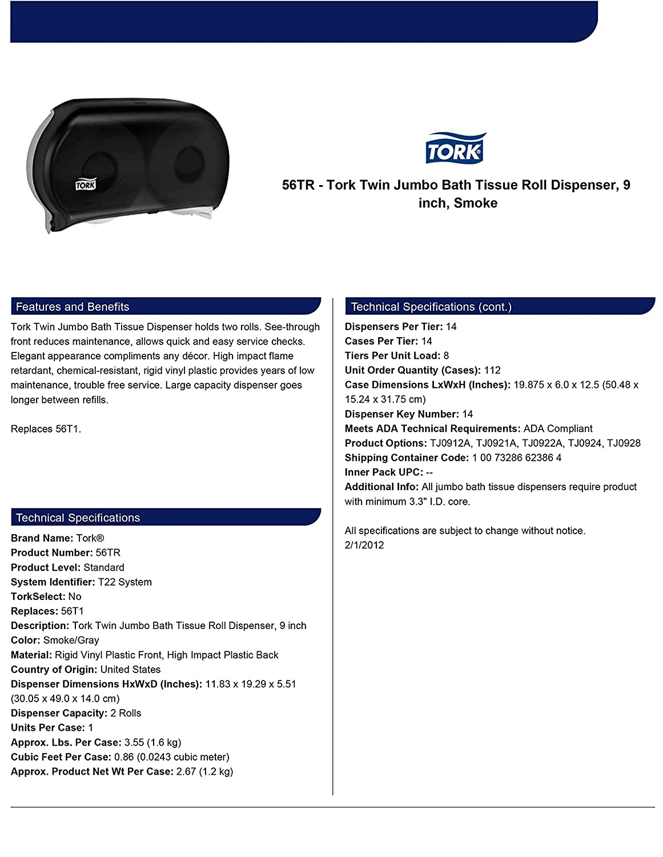 Amazon.com: Tork 56TR Twin Jumbo Bath Tissue Roll Dispenser, 9
