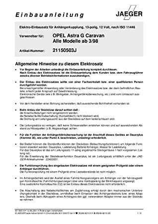 Anhängerkupplung Abnehmbare Opel//Vauxhall Astra 1998-2004 AHK 7p E-Satz