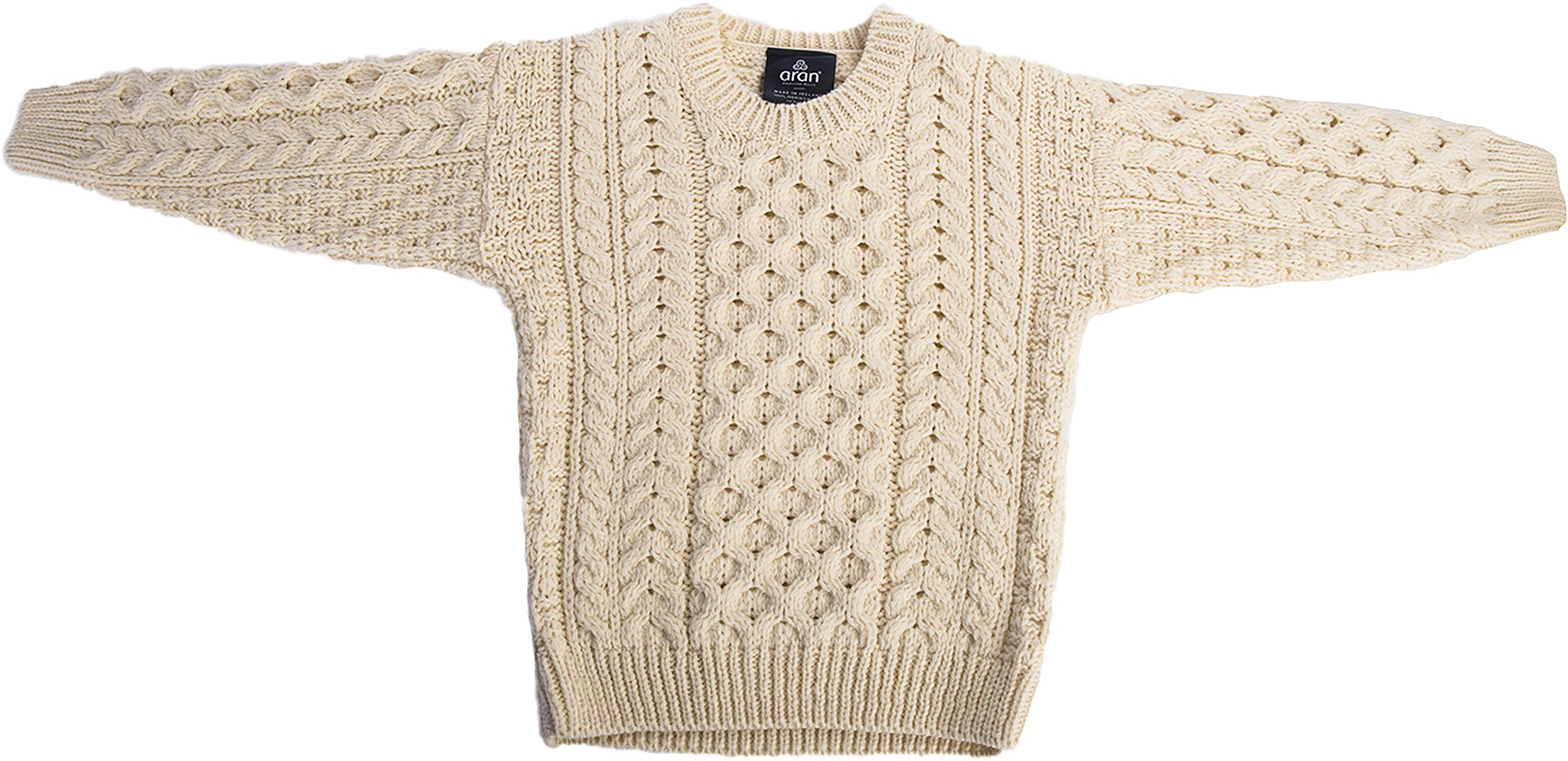 Carraig Donn Childs Irish Merino Wool Crew Cut Sweater (XSmall, Natural)