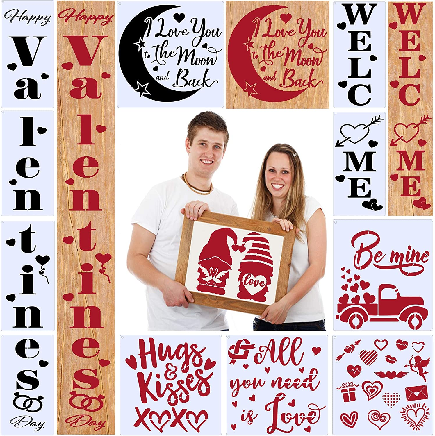 Valentine's Day Stencils for Painting on Wood Reusable,Vertical Welcome Valentine's Sign for Front Door Outside Porch Decor with XOXO Valentine's Gnome Sign(13PCS)