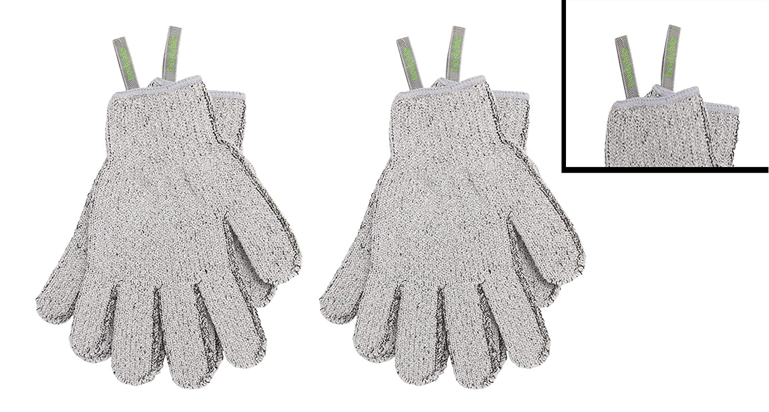 Bodylife Grey Carbonized Bamboo Exfoliating Gloves With Hanging Strap Twin Pack