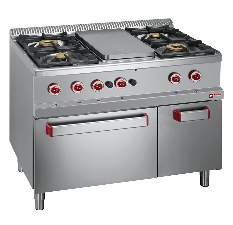 Cocina de gas modular con 4 quemadores, horno de gas GN 2/1 ...