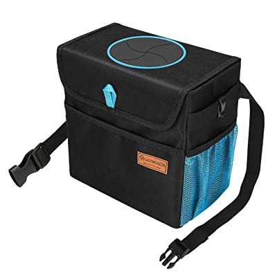 QUARKACE Car Trash Can, Leakproof Car Garbage Can with Lid, Collapsible Car Trash Container with a Removable Liner: Automotive