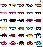 Kompanion 30 Stück Superhelden Party Masken Set, Ideal für Geburtstage, Halloween, Cosplay, Party Tütenfüller usw, Filzmaske mit Verstellbaren Elastischen Seil, für Alter 3-Plus
