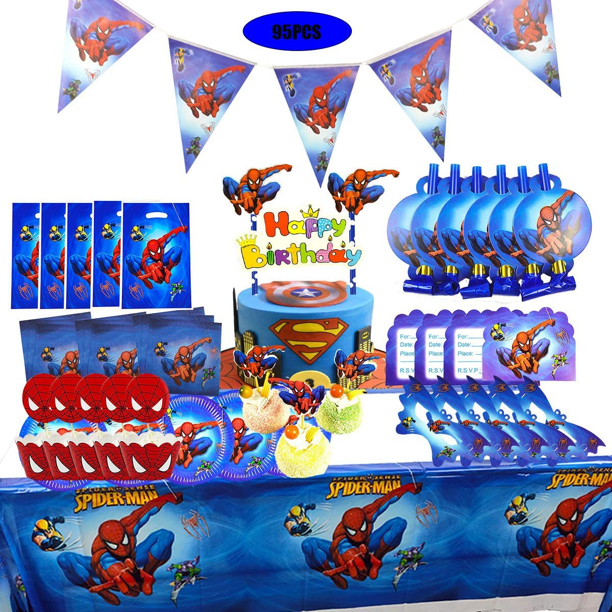 TOXYU 95Pcs Spiderman Party Supplies for Boys Baby Birthday Decorations Includes Table Cloth, Cake Topper, Gift Bags, Dinner plate, Invitation Card, Mask, Spiderman Banner and Napkins, Disposable Tableware Kits