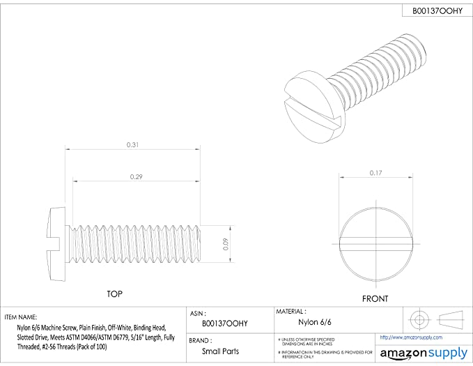 Fully Threaded Pack of 100 Nylon 6//6 Machine Screw Plain Finish Combination Phillips Slotted Drive Black #6-32 Threads Binding Head Meets ASTM D4066//ASTM D6779 9//16 Length
