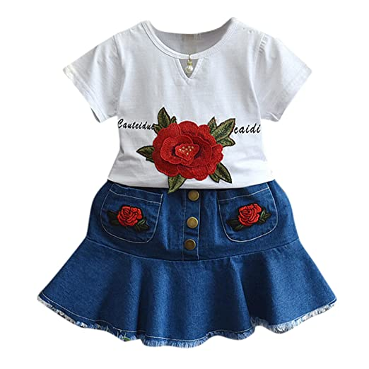 2PCS Kids Girls Denim Button Shirt Skater Skirts Baby Embroidery Rose Outfits