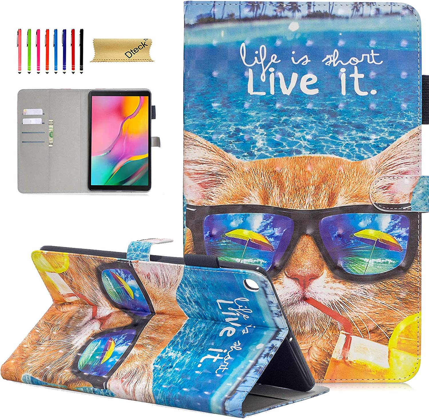 SM-T510 Case for Samsung Galaxy Tab A 10.1 Inch 2019 Model, Dteck 3D Glitter Design Slim Fit PU Leather Folio Stand Case with Card Slot/Pencil Holder Magnetic Protective Case, Cool Cat