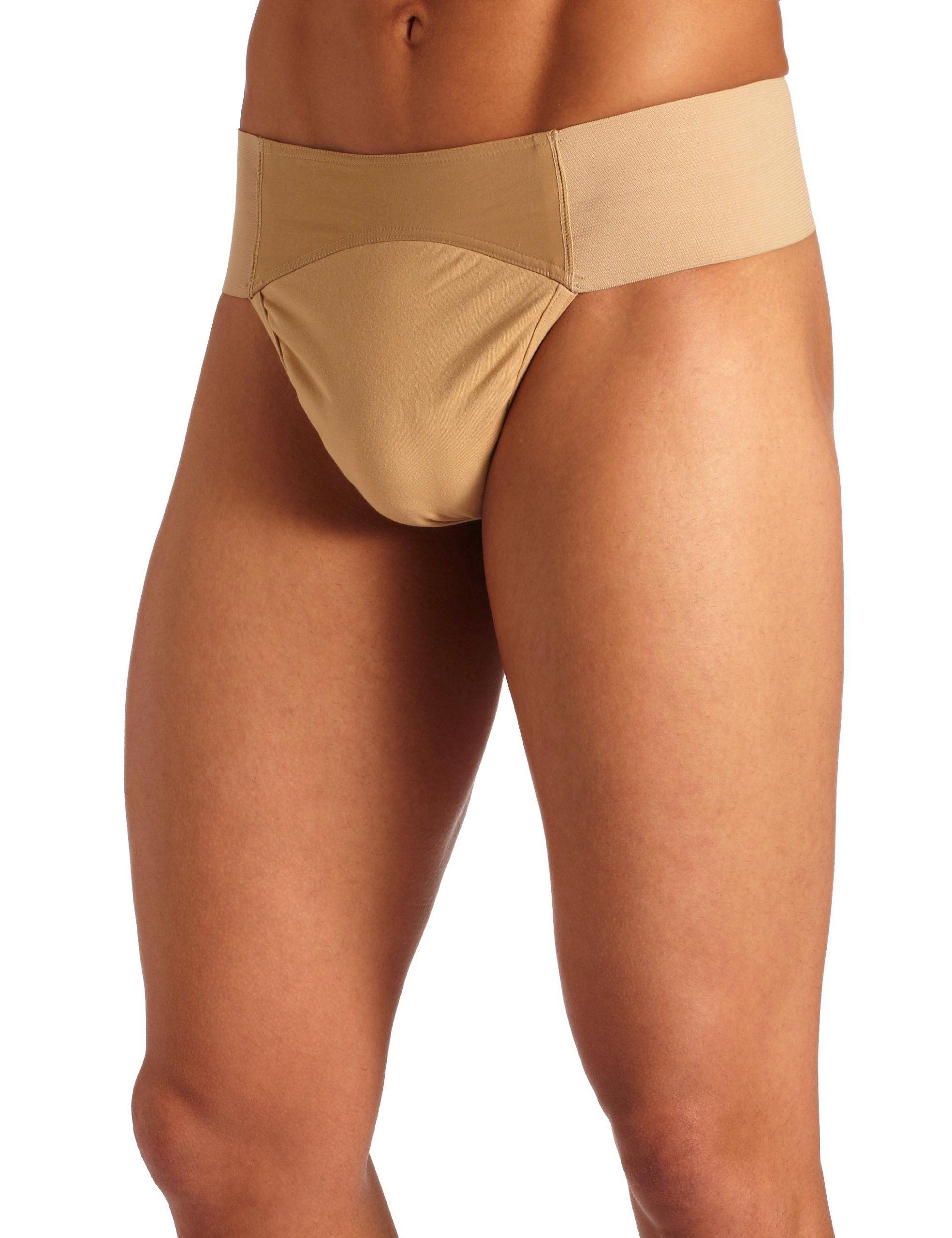 Capezio Men's Quilted Cotton Panel Thong Dance Belt, Natural, Medium