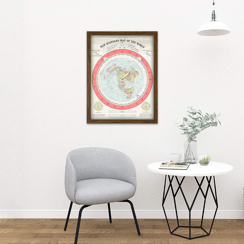 Map Gleason 1892 World Time Calculator Flat Earth Wall Art Canvas Print 24X24