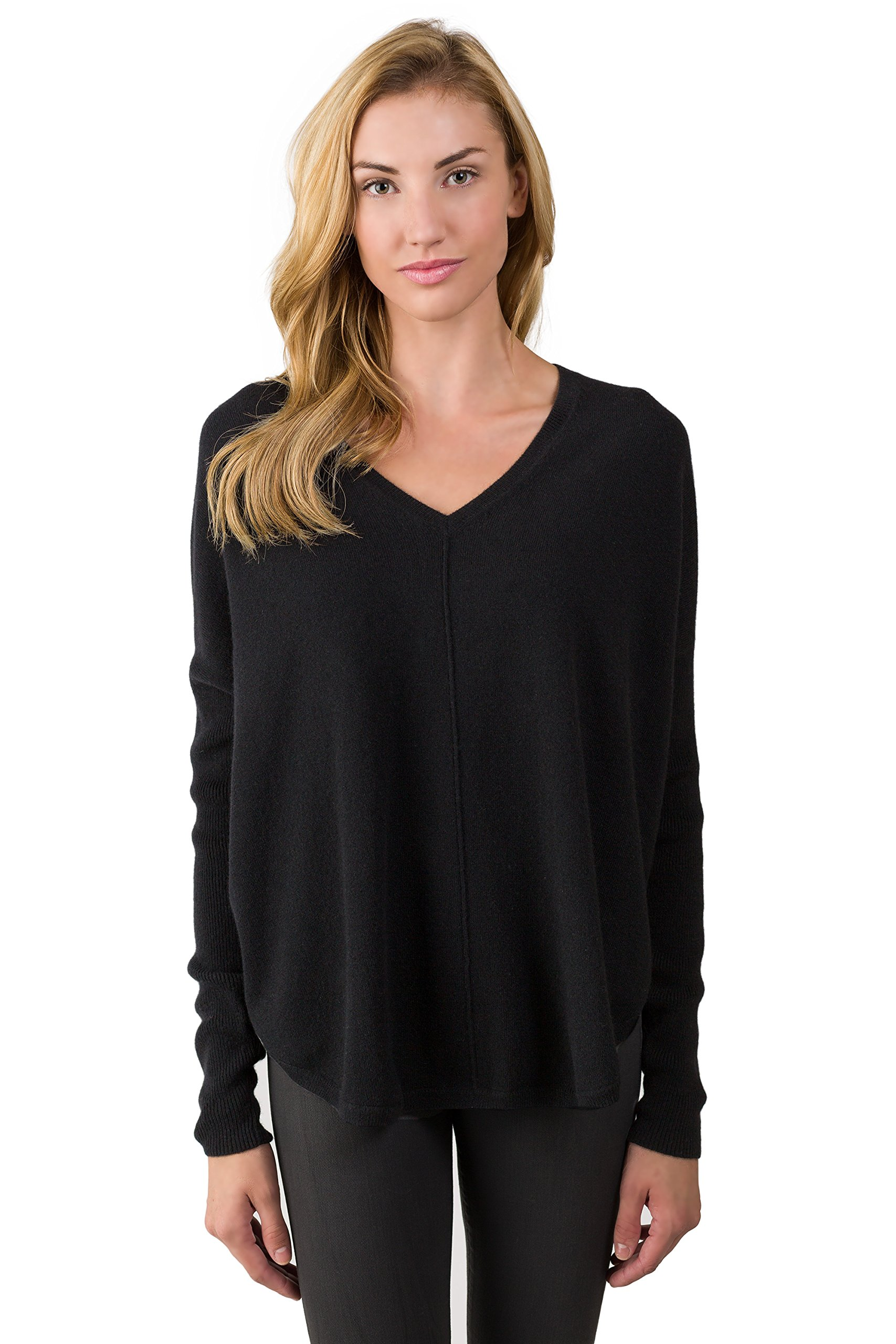 J CASHMERE Women's 100% Cashmere Long Sleeve Oversize V-neck Pullover Circle High Low Sweater Black Medium
