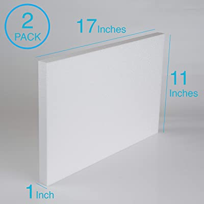Silverlake Craft Foam Block - 2 Pack of 11x17x1 EPS Polystyrene Styrofoam Blocks for Crafting, Modeling, Art Projects and Floral Arrangements - Sculpting...
