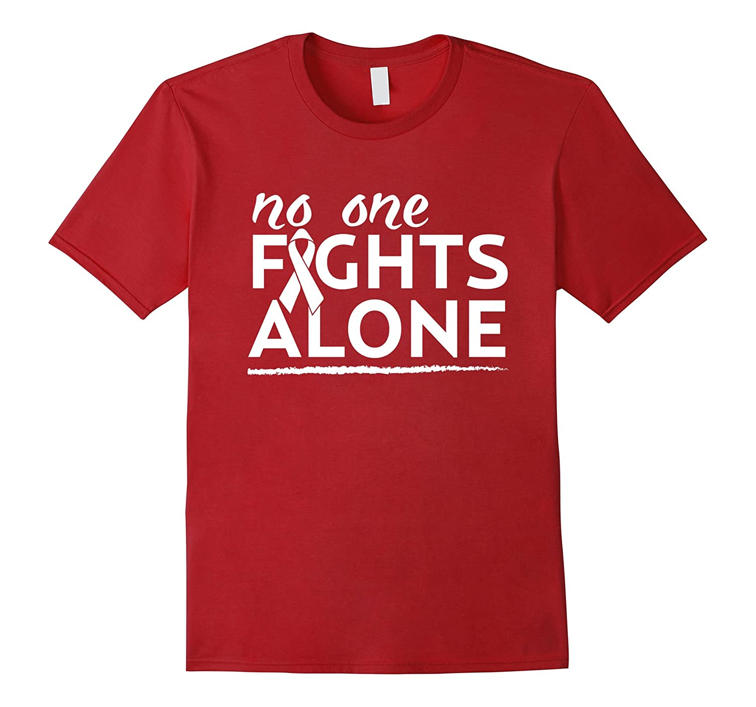 no one fights alone beat lung cancer pride awareness t