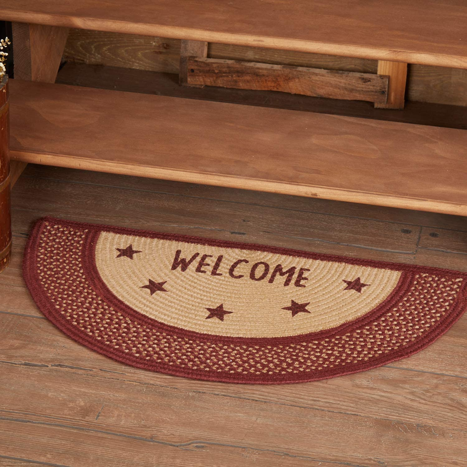 FARMHOUSE COUNTRY PRIMITIVE SAWYER MILL CHARCOAL BRAIDED JUTE HALF CIRCLE RUG