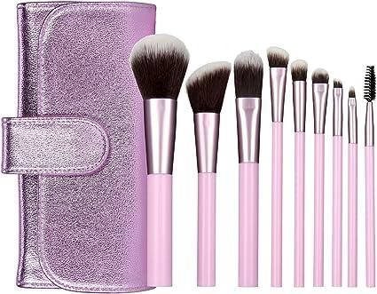 Lavanda Set de Brochas de Maquillaje, 9pcs Pinceles Profesionales con Estuche Brocha de Base de Maquillaje Colorete Contour Máscara, Paletas de Sombras de Ojos: Amazon.es: Belleza