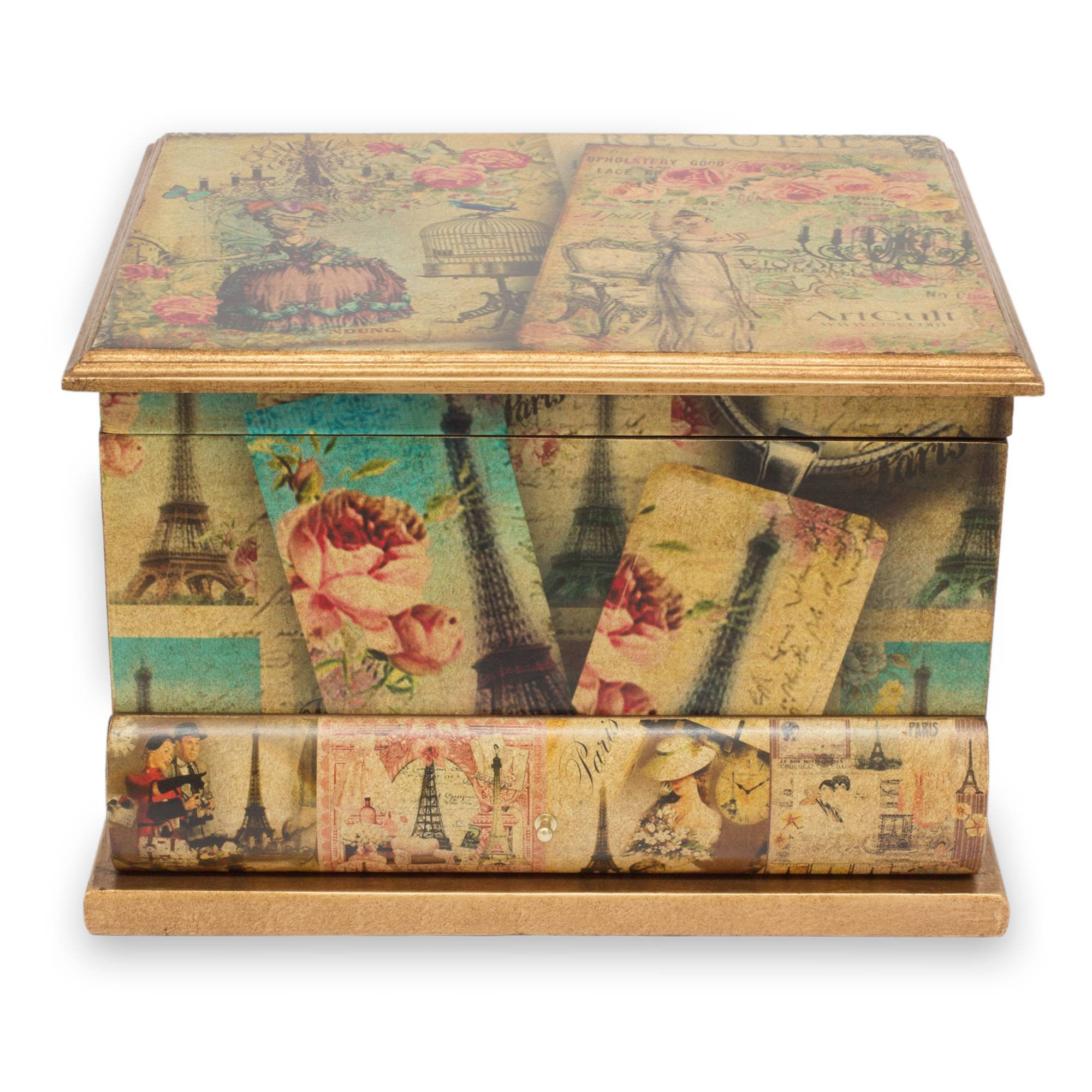 NOVICA Artisan Crafted Paper Wood Decoupage Jewelry Box, Multicolor, Carlota's Memories'