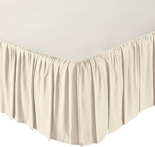 AmazonBasics Ruffled Bed Skirt - Twin, Beige