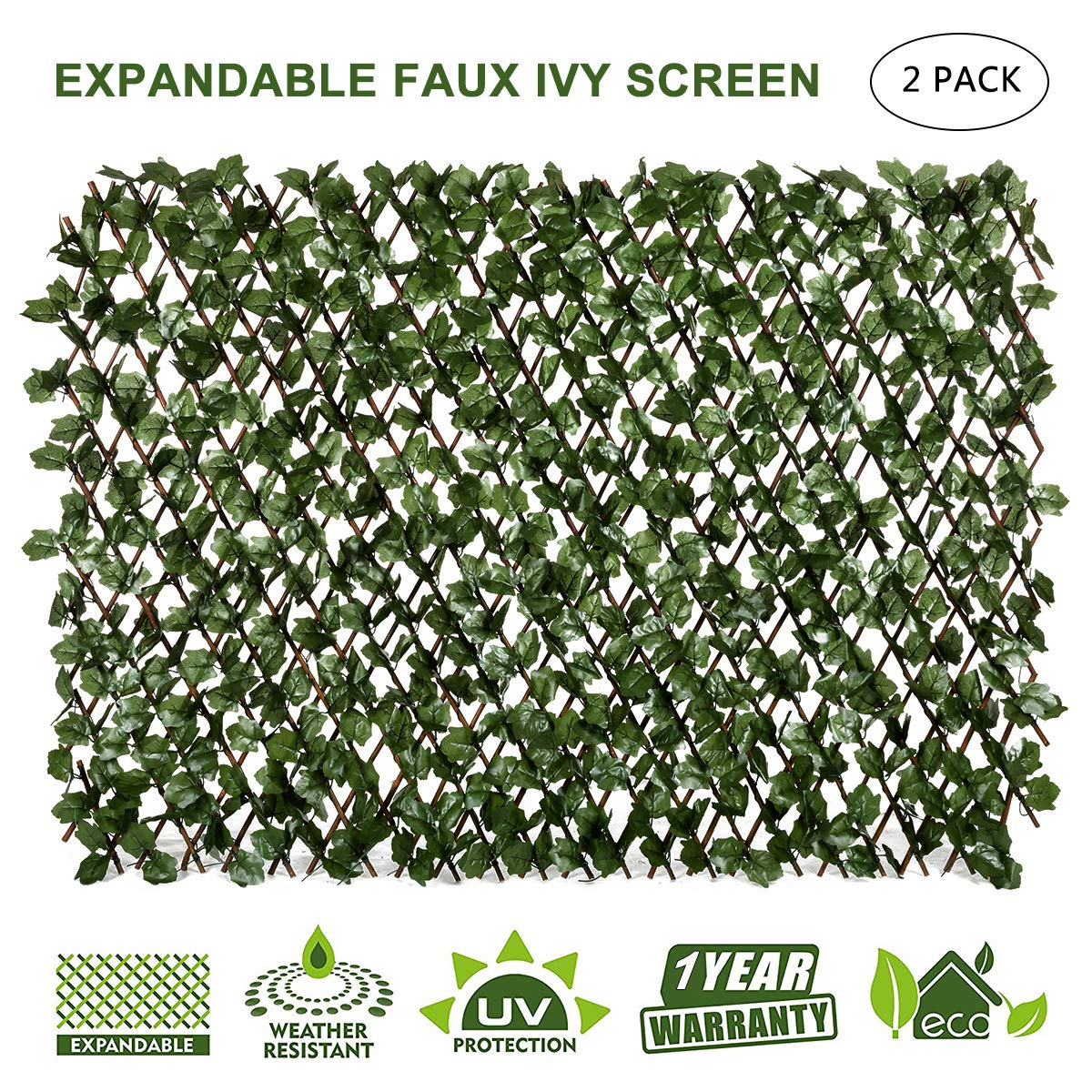 DOEWORKS Expandable Trellis Fence, Willow Faux Artificial Leaf Ivy Privacy Fence Screen for Backdrop Garden Backyard Home Decorations - 2PACK