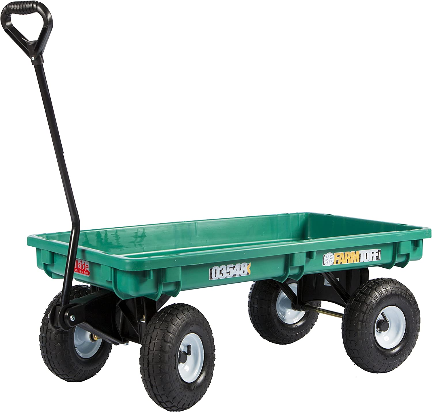 Millside 03548-FF Poly-Deck Garden Wagon with Flat Free Tires, Green