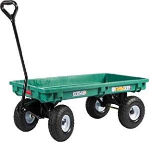 Millside 03548-FF Poly-Deck Garden Wagon with Flat Free Tires, Green