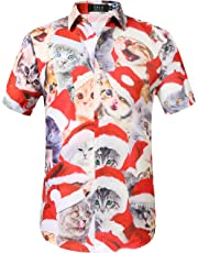 SSLR Men's Christmas Santa Claus Party Casual Tropical Hawaiian Shirt