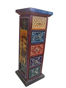 SAARTHI Handicraft Wooden Five Drawer Corner | Side Table | Corner Table - 45 cm | Multicolor